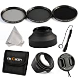 K&F Concept 67mm 3pcs ND2 ND4 ND8 Lens Accessory Filter Kit Neutral Density Filter for Canon 7D 700D 600D 70D 60D 650D 550D for Nikon D7100 D80 D90 D7000 D5200 D3200 D5100 D3200 D5300 DSLR Cameras + Microfiber Lens Cleaning Cloth + Petal Lens Hood + Cent