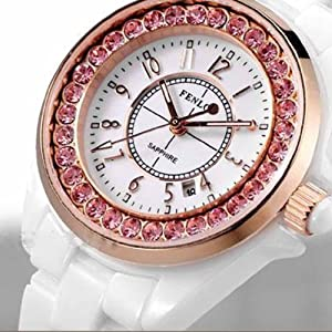 Fenlon Women's White Ceramic Bracelet Pink Swarovski Crystal Rose Gold Watch
