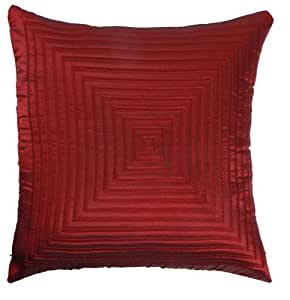 Amazon.com - Loft Collection Square Embroidery Decorative Pillow Replacement Cover, Brick Red