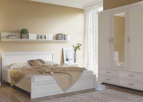 Schlafzimmer komplett Doppelbett 160x200 cm Kleiderschrank 159 cm 6854 woodline creme