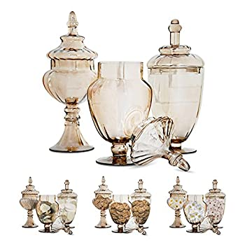 Set of 3 Gold Apothecary Jars - with Lids on Pedestal Stand ~ Elegant Centerpiece for Party and Candy Buffet, Countertop and Vanity Décor, Decorative Glass Jars (Clear Glass, Goldish Copper Color)