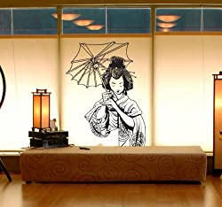 """Vinyl Wall Art Decal Sticker Japanese Geisha 20""""x32"""" Asian Decor #295"""
