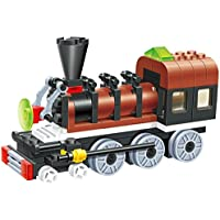 Sleek Train Long Chassis 85 Pcs Building Blocks Steam Double Window Cabin Engine Locomotive Railway Train Set,...
