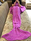 "Mermaid Blanket,Puremakee Mermaid Tail Blanket Warm Soft All Seasons for Kids,Sofa Quilt Living Room Super Sleeping Bags (Pink,55.12""x27.56"")"