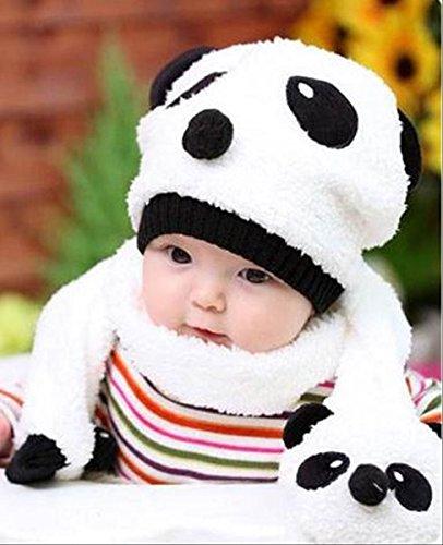 【On Dolce】選べる4色 かわいい パンダ ニット帽 & マフラー ニット帽子 ベビー キッズ 赤ちゃん 子 子供 用 BN007 (ホワイト)