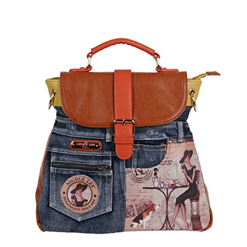 Nicole Lee Coffee Print Backpack Purse, Coffee, One Size