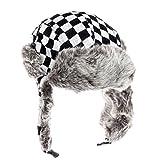 Search : City Hunter Checkered Jacquard Trapper Bomber Cap Hat w/ Faux Fur