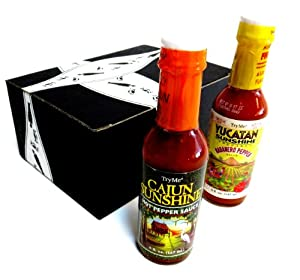 TryMe Sauces 2-Flavor Variety: One 5 oz Bottle Each of Cajun Sunshine Hot Pepper Sauce and Yucatan Sunshine Habanero Pepper Sauce in a Gift Box