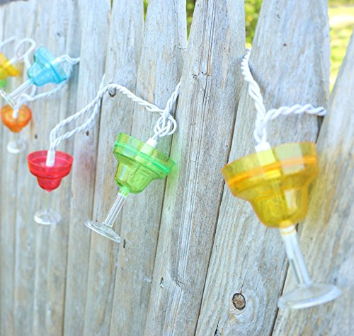 Set of 10 Margarita Glass Indoor/Outdoor Party String Lights Home Garden Kitchen Dining ...