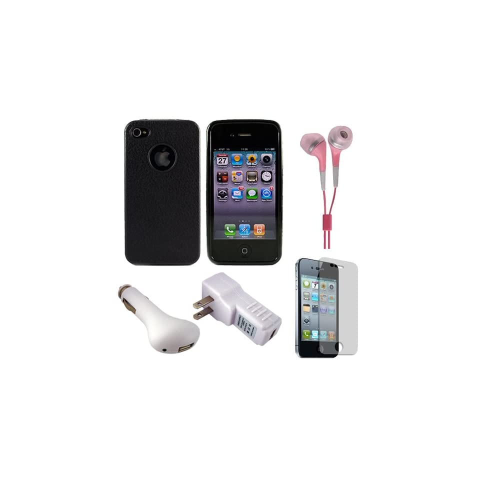 Solid Jet Black Premium Rubberized Protective Durable Silicone Skin Cover Case for Verizon Wireless Apple iPhone 4S Latest Generation and iPhone 4 (4th Generation)Package includes a 2 Piece Clear Screen Protector (For Front and Back of iPhone 4) USB Travel