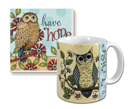 Counterart Ceramic Mug/Stone Coaster Gift Set, Wise Owl