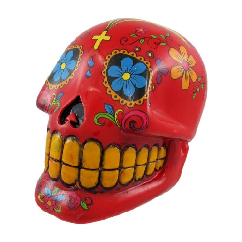 Red Day Of The Dead Sugar Skull Money Bank - 1