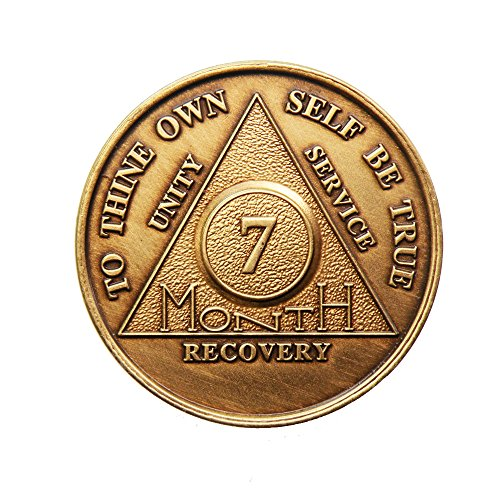 7 Month Bronze AA (Alcoholics Anonymous) - Sober / Sobriety / Birthday / Anniversary / Recovery / Medallion / Coin / Chip - 1