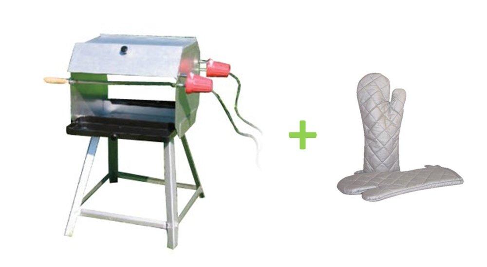 Mutzbratengrill mit 2 Spießen für 14 Portionen und 2 Elektromotoren + Grillhandschuhe günstig kaufen