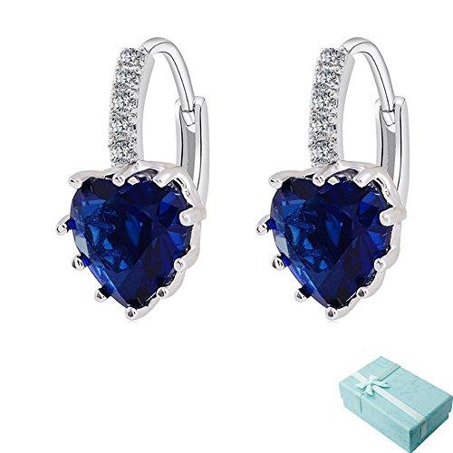Cristallo di Zircon di forma acxico Cuore intarsiato orecchini Hoop orecchini, Silver Dark Blue