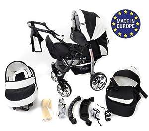 Baby Sportive - Landau pour bébé avec roues pivotables + Siège Auto - Poussette - Système 3en1, incluant sac à langer et protection pluie et moustique - Noir et Blanc