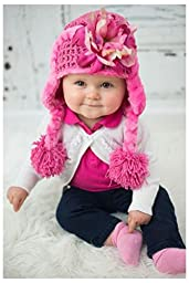 Candy Pink Winter Wimple Hat with Pink Raspberry Small Peony, Size: 18m-3y