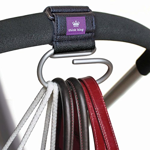 Think King Jumbo Swirly Hook for Strollers/Walkers, Brushed Aluminum/Black - 1