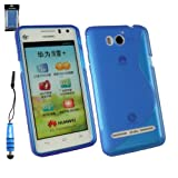 Emartbuy® Stylus Pack For Huawei Ascend G615 LCD Screen Protector + Metallic Mini Blue Stylus + Wave Pattern Gel Skin Cover Blue