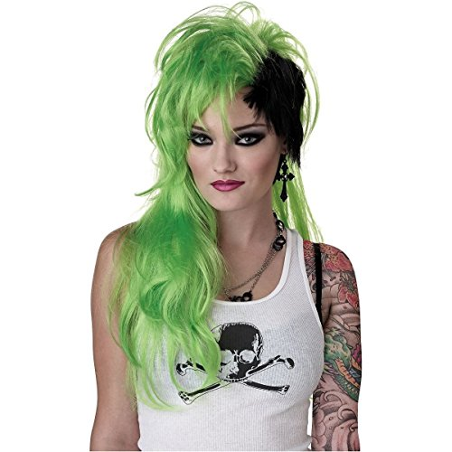 GSG Smash Punk Wig Costume Accessory Adult Womens Neon & Black Halloween