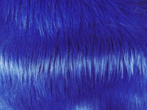Solid Shaggy Faux/Fake Fur Fabric-Ocean Blue-Long Pile 60