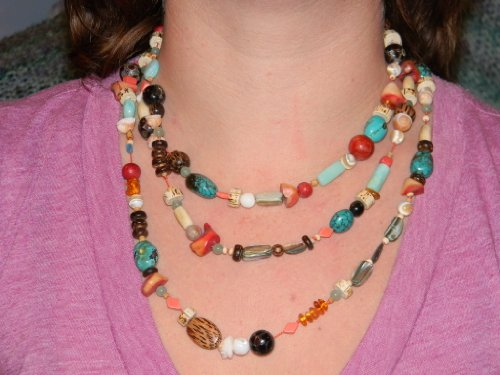 Necklace. Multi Stone, Shell, Coral, Wood. 60