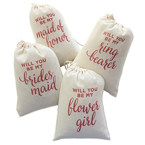 Design Corral Will You Be My Bridesmaid, Maid of Honor, Ring Bearer, Flower Girl Wedding Party Gift Bags 4 X 6 Inch (10 Pk)