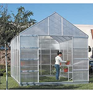 12 X 10 Polycarbonate Aluminum Framed Steel Base Greenhouse Free Standing