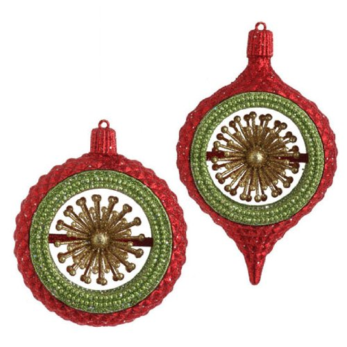 Large Selection Of Raz Imports Decorations Ornaments And: Red, Green And Gold Glittered Ball & Kismet