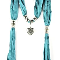 Silver Heart Bead Pendant Jewelry Scarf,nl-1802,11 Colors (NL-1802H-cyan)