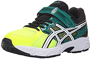 ASICS Pre Contend 3 PS Running Shoe (Little Kid/Little Kid), Flash Yellow/White/Green, 3 M US Little Kid