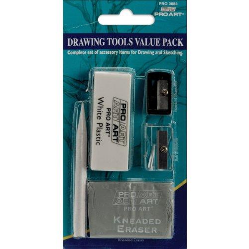 Pro-Art Drawing Tools Eraser & Sharpener Value Set