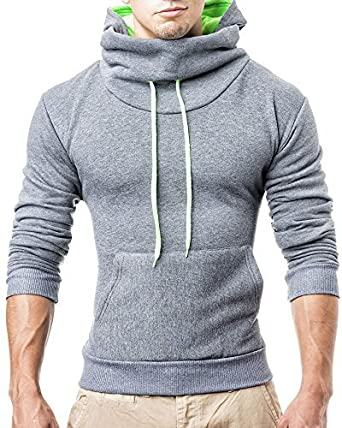 Herren Hoodie Hoody Pullover T-Shirt Slim Fit; Größe S, Dunkel Grau