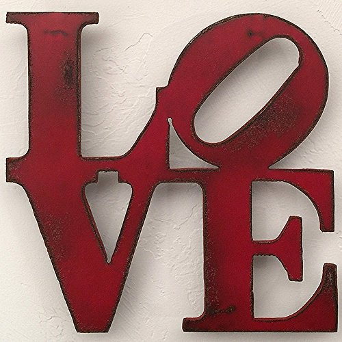 7 inch tall LOVE sign metal wall art - Choose your patina color