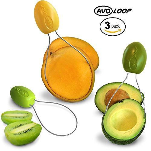 AvoLoop - Fast peel any fruit or soft vegetable with ease. Avocado Slicer Peeler Pitter Scooper, Mango Corer, Kiwi Fruit