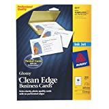 Avery Clean Edge Business Cards for Inkjet Printers, Glossy, White, Pack of 200 (08879)