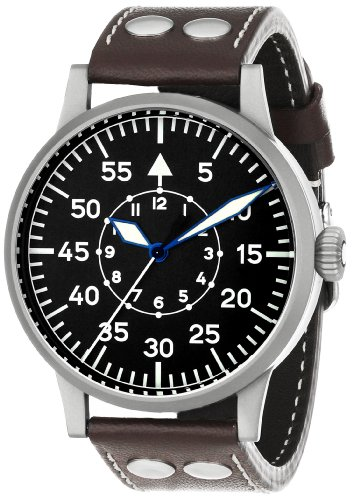 Laco 1925 Men's Mechanical Watch with Black Dial Analogue Display and Brown Leather Strap 861751