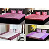 India Furnish 100% Cotton Flower And Leaves Design Double Bedsheets With Pillow Covers Combo Of 4 Sets-Dark Pink...