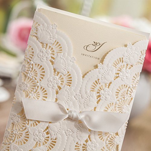 Wishmade 50x Elegant White Laser Cut Wedding Invitations Cards Kits with Lace and Hollow Flowers Card Stock Paper for Birthday Anniversary Baby Shower Graduation Quinceanera(set of 50pcs) CW5111 3