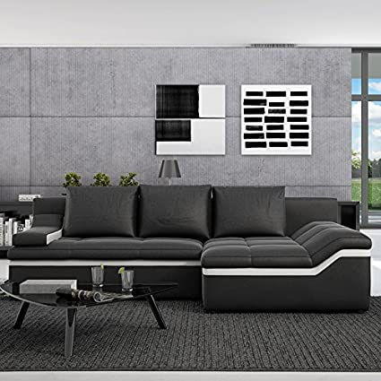 Innocent sofá con la función del sueño y ropa de piel sintética negro línea Bodoni ropa derecha