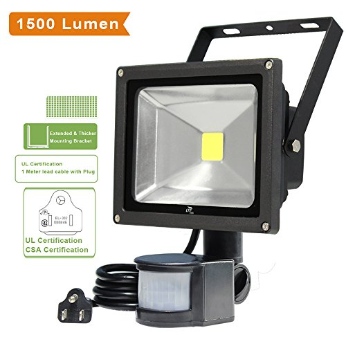 LTE 20W Motion Sensor Lights, Super bright Outdoor LED Flood Lights, 1500 Lumen, 100W Halogen Lights Equivalent, Daylight White, Waterproof Security Light, PIR Floodlight. (Outdoor Floodlight Sensor compare prices)
