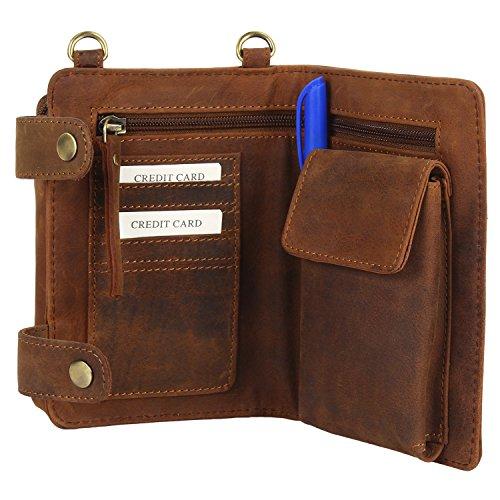 08. Vintage Travel Wallet Leather Pouch Crossbody Bag for Men Women Cross body Travel Kit
