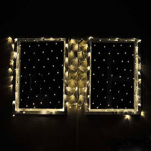 "Connectable Christmas Led Net Light With 176 Leds 40""X80"" 120 Volt Warm White Green Wire,By Ledwholesalers 2083Ww"