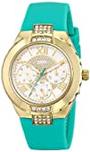 GUESS Womens U0327L3 Green Silicone Multi-Function Watch