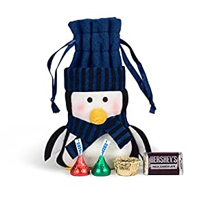 Christmas Gifts Felt Penguin HERSHEY'S Chocolate Bag (Blue)