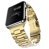 Evershop®Apple Watch Band 38mm Stainless Steel Strap Wrist Band Replacement Metal Clasp for Apple Watch All Models 38mm(Stainless Steel Strap-38mm Gold)