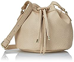 POVERTY FLATS by rian Vintage Mini Bucket Cross Body Bag, Beige, One Size