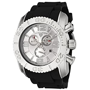 Mens 20067-02S Commander Collection Chronograph Silver Dial Black Rubber Watch