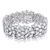 Bling Jewelry Oval Bridal Tennis Bracelet Cubic Zirconia Cluster 7 Inch