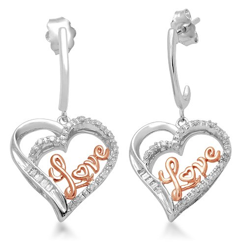 18k Rose Gold Plated Silver Diamond Heart Love Earrings (1/10 cttw, I-J Color, I3 Clarity)